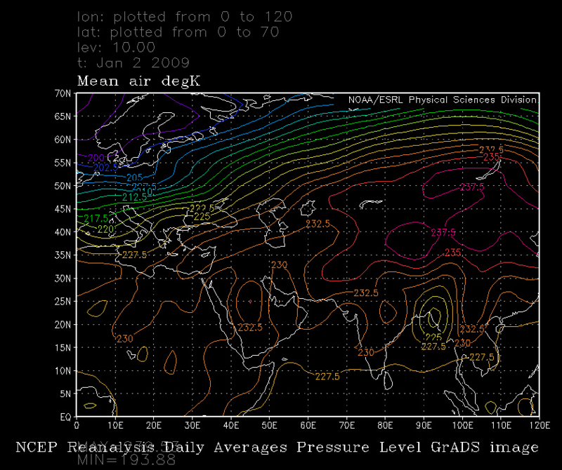 Thermal wave before SSW 2009 Jan