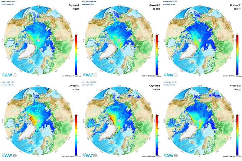 CryoSat-2 March comparison 2011-2016