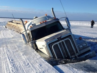truck breaks through ice
